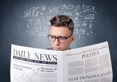 生意人查出的报纸读取白色 免版税库存照片