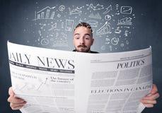 生意人查出的报纸读取白色 图库摄影