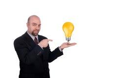 生意人电灯泡 库存照片
