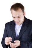 生意人电话触摸屏年轻人 免版税库存照片