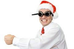 生意人疯狂的帽子圣诞老人 库存照片