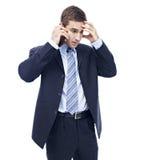 生意人白种人移动电话联系 免版税库存图片