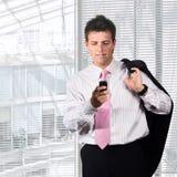 生意人移动电话 免版税图库摄影