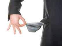 生意人空的口袋显示 免版税库存照片