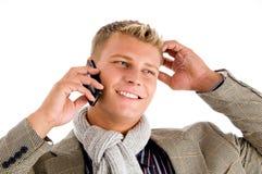 生意人繁忙的购买权电话 库存图片