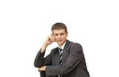 生意人纵向微笑的年轻人 免版税图库摄影