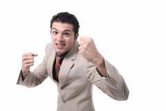 生意人纵向成功的年轻人 库存照片