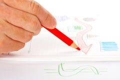 生意人绘制速写的成功 免版税库存图片
