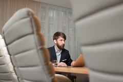 生意人膝上型计算机使用 库存图片