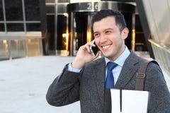 生意人英俊的电话 图库摄影