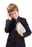 生意人远期查出在白色 免版税库存图片