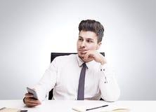 生意人远期认为的年轻人 库存照片