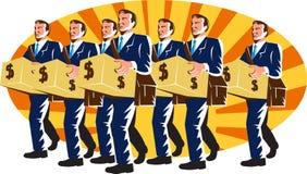 生意人银行家工作者运载减速火箭的钱箱 免版税库存照片
