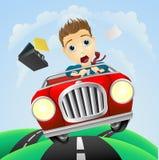 生意人驱动快速年轻人的汽车经典之作 免版税图库摄影