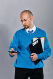 生意人移动电话联系 免版税图库摄影