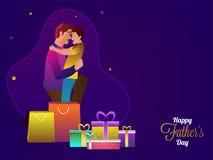 生拥抱他的儿子和在发光的紫色后面的许多礼物盒 免版税库存图片