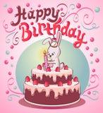 生日与兔宝宝和一个蜡烛的草莓蛋糕 皇族释放例证