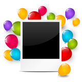 生日与气球的照片框架 库存图片