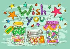 生日与瓶子和愿望的贺卡 库存照片