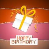 生日与礼物盒的被撕毁的纸减速火箭的背景 免版税库存图片