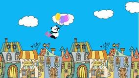 生日与飞行熊猫的贺卡在气球 影视素材