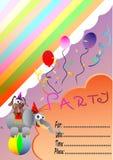 生日与马戏团动物的邀请看板卡 免版税图库摄影