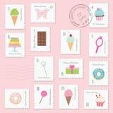生日为女孩设置的邮票 库存例证