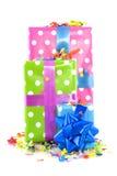 生日五颜六色的存在 免版税库存照片