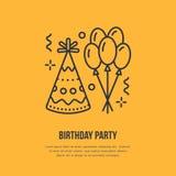 生日共线电话的象 导航党服务或事件机构的商标 气球的线性例证,生日帽子 向量例证