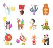 生日动物 假日愉快的庆祝野兔猬熊斑马乌龟狮子和猴子欢乐礼物导航动画片 皇族释放例证