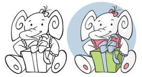 生日大象和礼物 免版税图库摄影