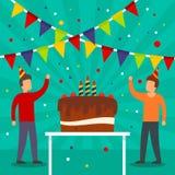 生日宴会概念背景,平的样式 向量例证