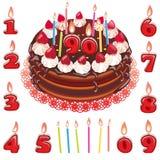 生日巧克力蛋糕用草莓和蜡烛 免版税库存照片