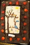 生日巧克力蛋糕用草莓 库存图片