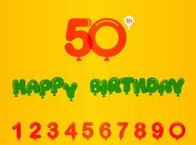 50年生日庆祝卡片、第50周年与气球作用和数字 免版税库存照片