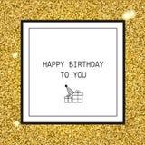 生日快乐与丝带和线象的贺卡 图库摄影