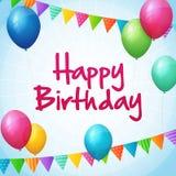 生日快乐与五颜六色的气球和旗子的贺卡 库存照片