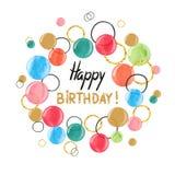 生日快乐与五颜六色的水彩的卡片设计起泡 库存例证