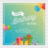 生日快乐与党装饰装饰品的卡片印刷术 免版税库存照片
