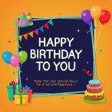 生日快乐与党装饰装饰品的卡片模板 免版税库存照片
