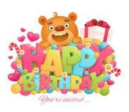 生日快乐与动画片玩具熊字符的贺卡 免版税库存图片