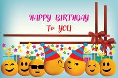生日快乐与微笑面孔的传染媒介设计 免版税库存图片