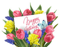 生日快乐与春天花束的贺卡开花郁金香,黄水仙,穆斯卡里 向量 库存图片