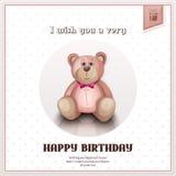 生日快乐与桃红色玩具熊的贺卡 向量 图库摄影