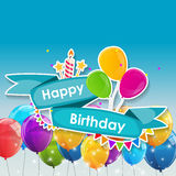 生日快乐与气球传染媒介例证的卡片模板 免版税库存图片