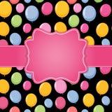 生日快乐与气球传染媒介例证的卡片模板 免版税图库摄影