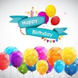 生日快乐与气球传染媒介例证的卡片模板 库存图片