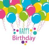 生日快乐与气球的庆祝卡片 皇族释放例证