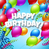生日快乐与气球的贺卡 免版税库存照片