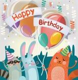 生日快乐与逗人喜爱的动物的贺卡 免版税库存照片
